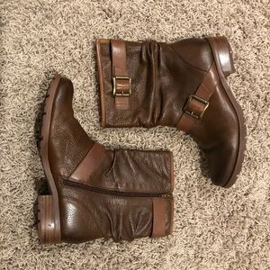 Sofft Brown Leather Slouch Boots - Size 8.5